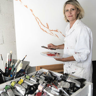 Artist Carole in her studio, Lyon FR | Août 2020 - Credit Photo: @christophepouget